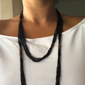 Black Beaded Necklace with Wood Beads